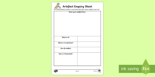 History Detective Artefact Enquiry Activity Sheet