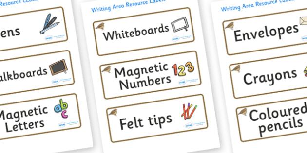 Lark Themed Editable Writing Area Resource Labels - Themed writing resource labels, literacy area labels, writing area resources, Label template, Resource Label, Name Labels, Editable Labels, Drawer Labels, KS1 Labels, Foundation Labels, Foundation S