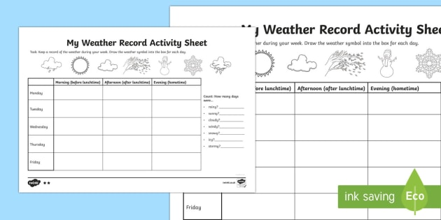 My Weather Record Activity Sheet