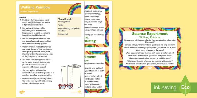 Walking Rainbow Science Experiment - St Patricks Day, Rainbow, Colours, walking, science, experiment