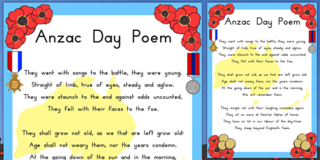 Anzac Day Ode of Remembrance Poem Display Poster - poems, poetry