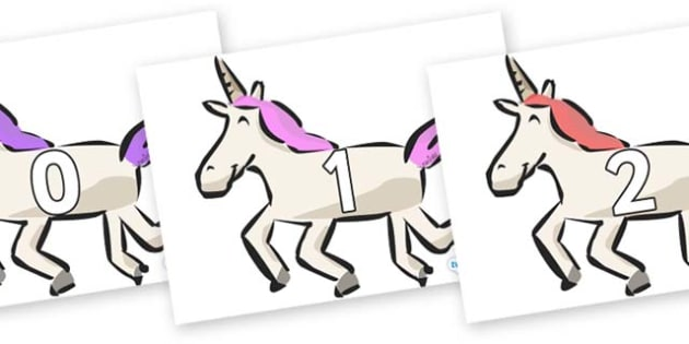 Numbers 0-31 on Unicorns - 0-31, foundation stage numeracy, Number recognition, Number flashcards, counting, number frieze, Display numbers, number posters