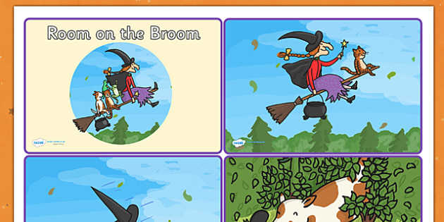 Story Sequencing Cards 4 per A4 to Support Teaching on Room on the Broom - room on the broom, story sequencing, story sequencing cards, 4 per A4, ordering, sequencing