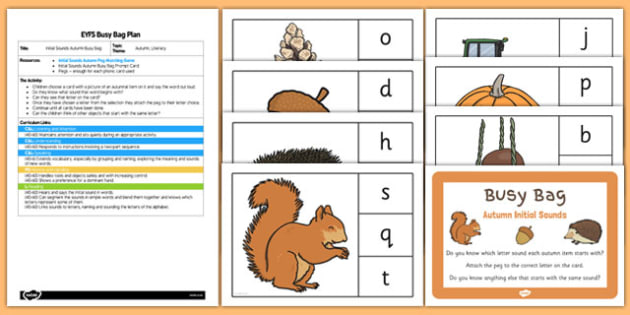Phonic Autumn Busy Bag Plan and Resource Pack - phonic, autumn, busy bag, plan, resource, pack
