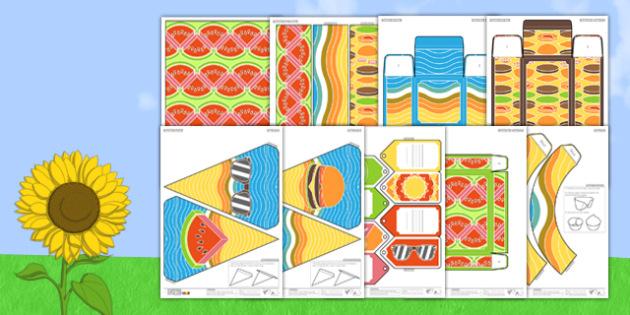 Enkl Summer Party Pack Printable - enkl, summer, party, pack, printable, summer party, diy, craft, paper, models