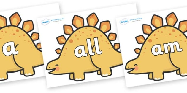 Foundation Stage 2 Keywords on Stegosaurus Dinosaurs - FS2, CLL, keywords, Communication language and literacy,  Display, Key words, high frequency words, foundation stage literacy, DfES Letters and Sounds, Letters and Sounds, spelling