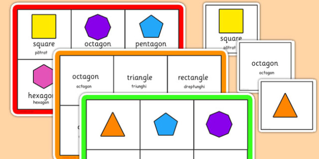 2D Shape Bingo Romanian Translation - romanian, 2d shape, bingo, game, activity, 2d, shape