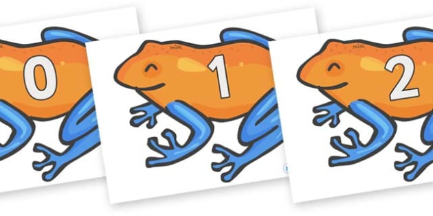 Numbers 0-50 on Tree Frogs - 0-50, foundation stage numeracy, Number recognition, Number flashcards, counting, number frieze, Display numbers, number posters