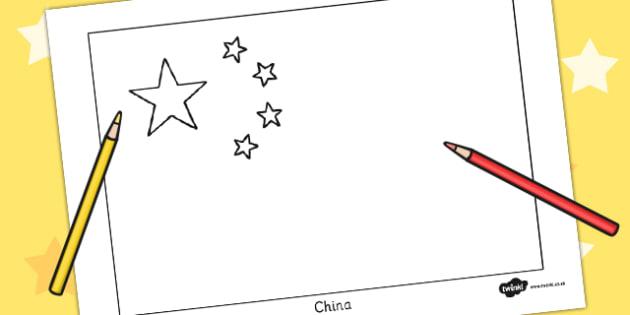 China Flag Colouring Sheet - china flag, colouring sheet, colouring, sheet