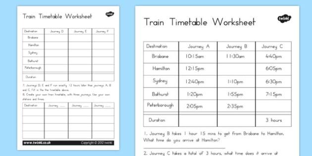 Train Timetable Worksheet australia train timetable – Timetables Worksheets