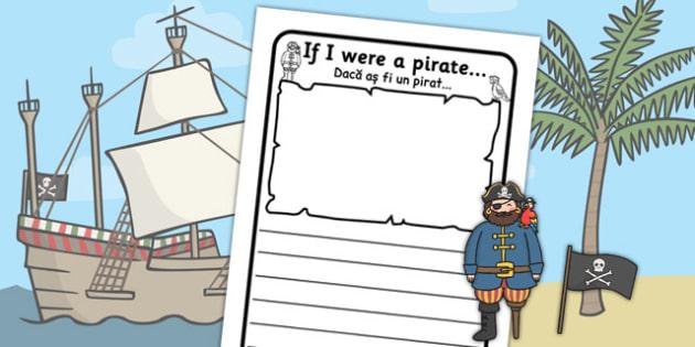 If I Were a Pirate Writing Frame Romanian Translation - romanian