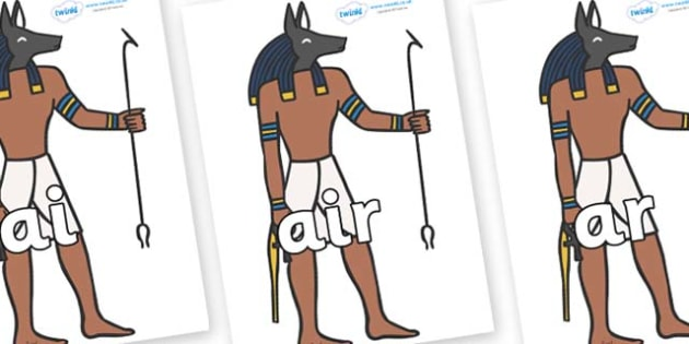 Phase 3 Phonemes on Egyptian God - Phonemes, phoneme, Phase 3, Phase three, Foundation, Literacy, Letters and Sounds, DfES, display