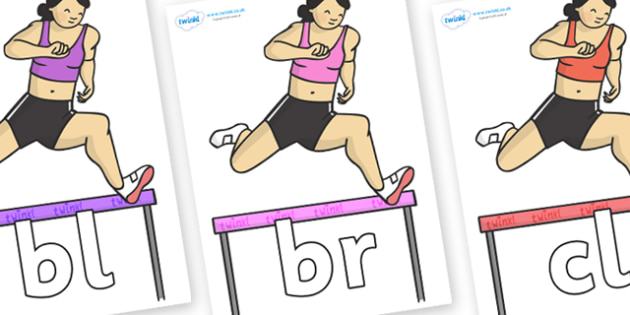 Initial Letter Blends on Olypmic Hurdles - Initial Letters, initial letter, letter blend, letter blends, consonant, consonants, digraph, trigraph, literacy, alphabet, letters, foundation stage literacy