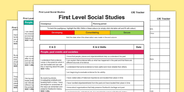 Social Studies CfE First Level Tracker - CfE, planning, tracking, history, geography, I can, First Level