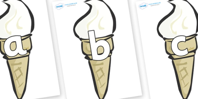 Phoneme Set on Ice Creams - Phoneme set, phonemes, phoneme, Letters and Sounds, DfES, display, Phase 1, Phase 2, Phase 3, Phase 5, Foundation, Literacy