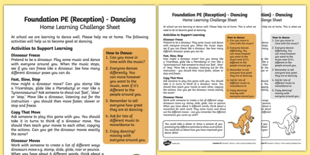 Foundation PE (Reception) - Dancing Home Learning Challenge Sheet - EYFS, PE, Physical Development