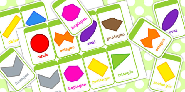 2D Shape Flash Cards Irregular and Different Orientations - shape