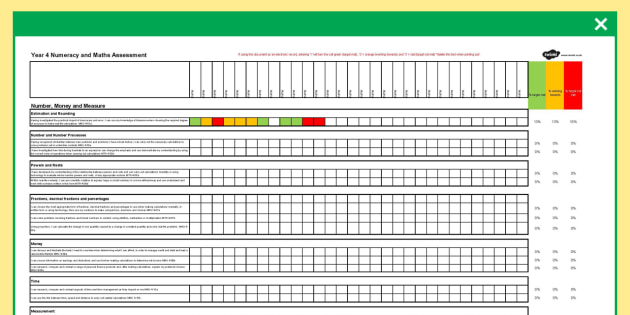 Scottish CfE Fourth Level Maths Assessment Spreadsheet - scottish, cfe, fourth level, maths, assessment, spreadsheet