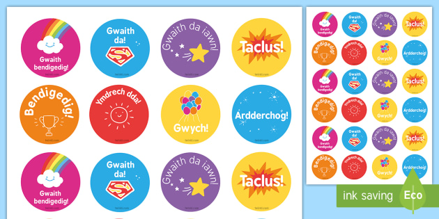 Praise Sticker Welsh - Excellent, Bendigedig, Praise, Reward, Welsh