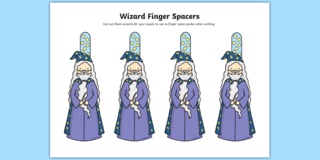 Writing Finger Spacers (Wizard) - Finger spacers, finger space, writing aid, wizard, sentence structure, finger, space, writing space, space aid, finger space aid