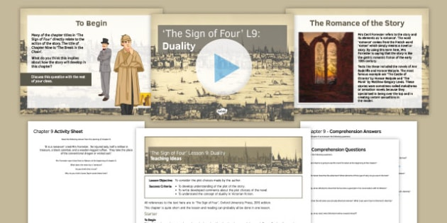 The Sign of Four Lesson Pack 9: Duality - Sign of Four, Sherlock Holmes, Reading, Heritage Prose, AQA, Exam, GCSE, Duality, Chapter 9