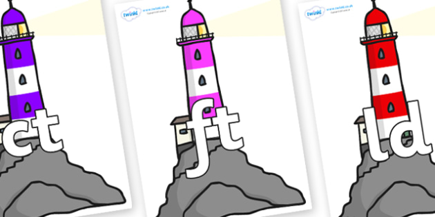 Final Letter Blends on Lighthouses - Final Letters, final letter, letter blend, letter blends, consonant, consonants, digraph, trigraph, literacy, alphabet, letters, foundation stage literacy