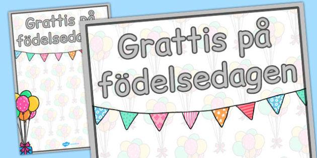 Swedish Happy Birthday Posters 2xA4 - swedish, happy birthday