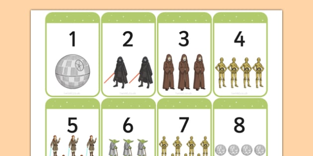 Space Wars Themed Number Flashcards - space wars, star wars, space, wars, star, number, flashcards