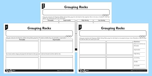 Grouping Rocks Activity Sheet - activity, grouping, rocks, group, worksheet