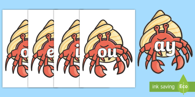 Phase 5 Phonemes on Hermit Crabs - Phonemes, phoneme, Phase 5, Phase five, Foundation, Literacy, Letters and Sounds, DfES, display