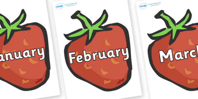 Months of the Year on Strawberries - Months of the Year, Months poster, Months display, display, poster, frieze, Months, month, January, February, March, April, May, June, July, August, September