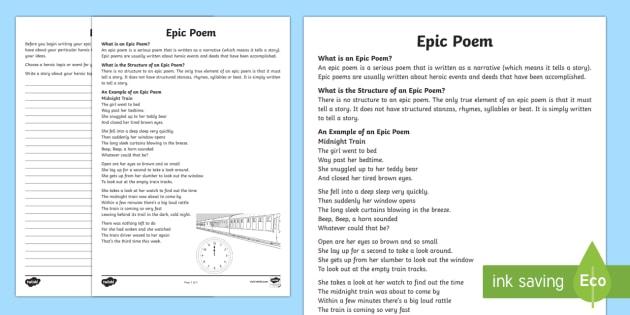 Epic Poem Writing Template-Australia - Literacy, Interpreting, analysing, evaluating, english, poetry, writing, poems, poetry, epic poems,