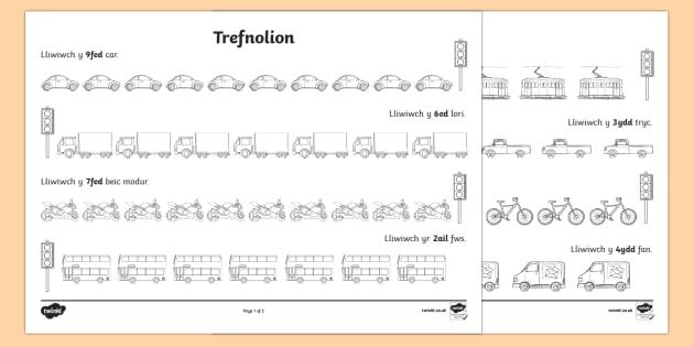 Taflen weithgaredd Trefnolion Traffig - trefnolion, rhifau, mathemateg, Welsh