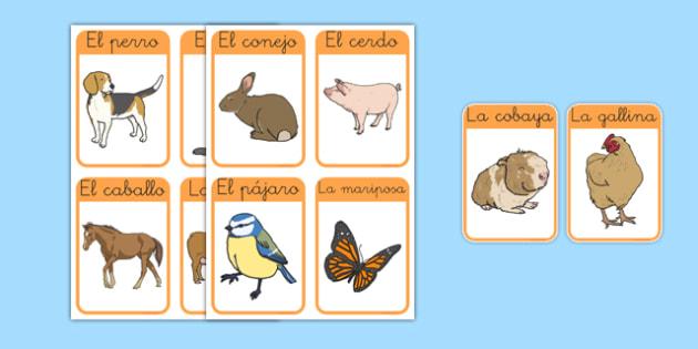 Tarjetas de vocabulario - animales de la granja - animales, vaca, cerdo, oveja, pato, caballo, cabra, burro, oca, gallina, cabra, juego, vocabulario