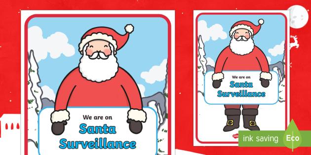 Santa Surveillance Display Poster - santa, surveillance, father christmas, posters, xmas, santa poster