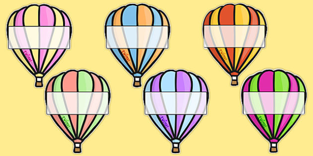 Hot Air Balloons 2 per A4 Editable Box - Hot air balloon, balloon, display, poster, editable, label, template, birthday display