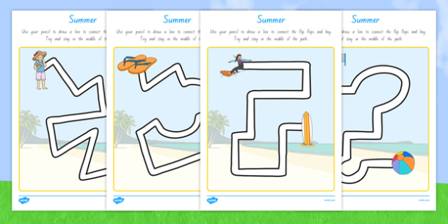 Summer Pencil Control Path Worksheets - nz, new zealand, season, fine motor skills