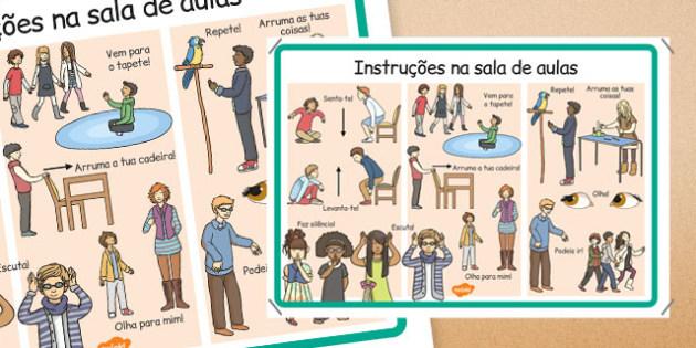 Instruções na sala de aulas Portuguese - portuguese, classroom, instructions, display, posters