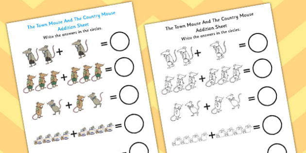 The Town Mouse And The Country Mouse Addition Sheet - the town mouse and the contry mouse, addition sheet, addition, numeracy, addition worksheet, maths