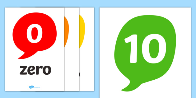 Number and Word Posters (0-10) - Number posters, 0-10, Number names, Number words, Numerals, Foundation Numeracy, Number recognition, Number flashcards