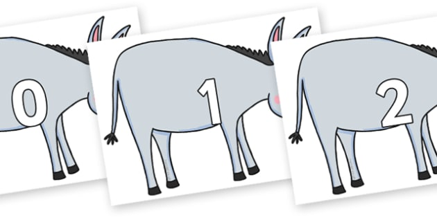Numbers 0-31 on Hullabaloo Donkey to Support Teaching on Farmyard Hullabaloo - 0-31, foundation stage numeracy, Number recognition, Number flashcards, counting, number frieze, Display numbers, number posters