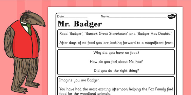 Badger Diary Writing Challenge Activity to Support Teaching on Fantastic Mr Fox - mr fox