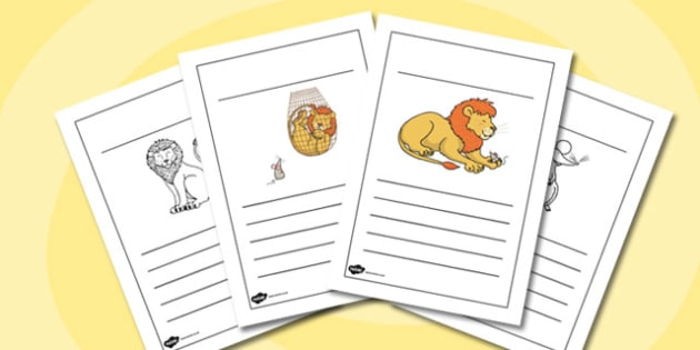 The Lion and the Mouse Writing Frames - writing frames, lion