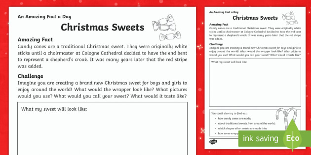 Christmas Sweets Activity Sheet - Amazing Fact Of The Day, activity sheets, PowerPoint, starter, morning activity, worksheet, December