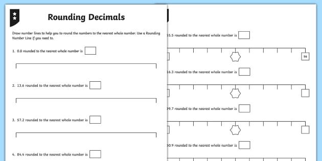 Rounding Decimals Differentiated Activity Sheets - decimals, decimal number, rounding, whole number, one decimal place, 1 decimal place, tenths, worksh