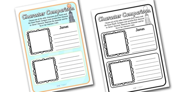 Character Comparison Worksheets to Support Teaching on James and the Giant Peach - james and the giant peach, character comparison, character comparison worksheets