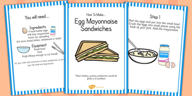 Egg Mayonnaise Sandwich Recipe Cards - egg, mayonnaise, recipe