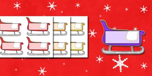Christmas Editable Self Registration Sleighs - self registration, self-registration, editable, editable labels, christmas sleigh, editable sleigh, editable christmas sleigh, editable self registration labels, labels, registration, child name label, n
