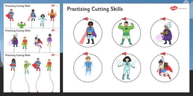 Superhero Themed Scissor Skills Activity Sheet Pack - superhero, scissor skills, activity, sheets, fine, motor, worksheet
