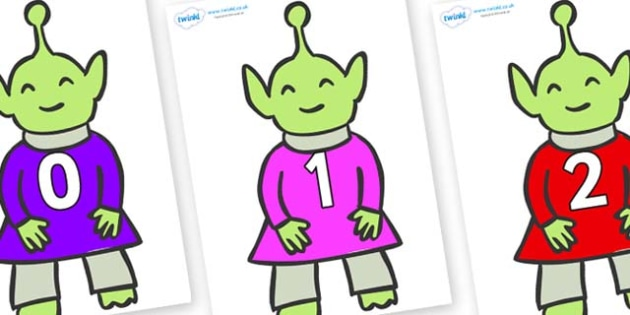 Numbers 0-50 on Aliens - 0-50, foundation stage numeracy, Number recognition, Number flashcards, counting, number frieze, Display numbers, number posters